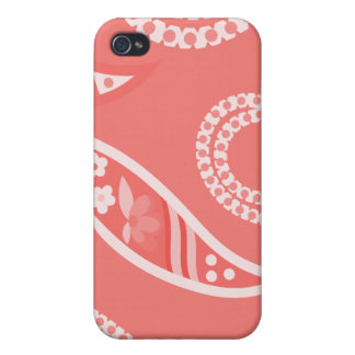 Red Stylized Flowers Cases For iPhone 4