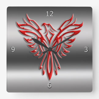 Red stylized Phoenix Rising on metallic-look Square Wall Clock