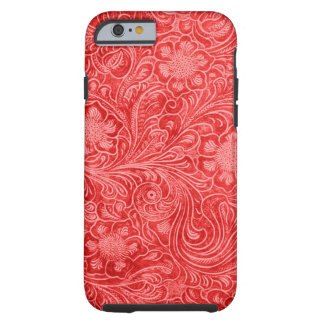 Red Suede Leather Look Embossed Flowers Tough iPhone 6 Case