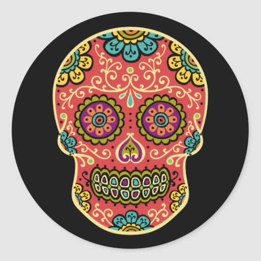Red Sugar Skull Classic Round Sticker
