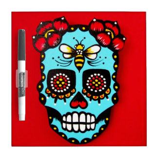 Red Sugar Skull Dry Erase Board