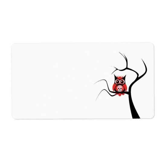 Red Sugar Skull Owl in Tree Label Shipping Label