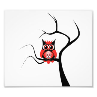Red Sugar Skull Owl in Tree Photo Enlargement