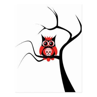 Red Sugar Skull Owl in Tree Postcard