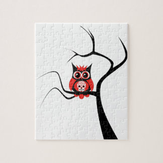 Red Sugar Skull Owl in Tree Puzzle