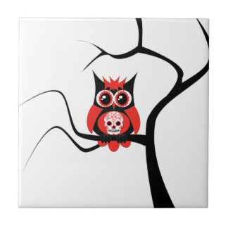 Red Sugar Skull Owl in Tree Tile