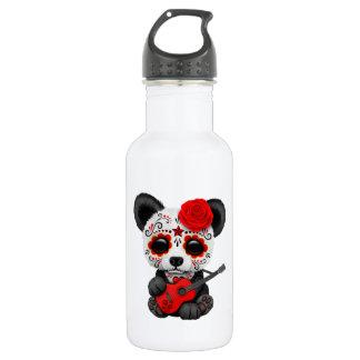 Red Sugar Skull Panda Playing Guitar 532 Ml Water Bottle