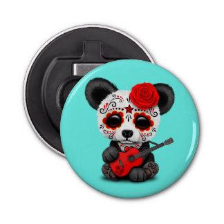 Red Sugar Skull Panda Playing Guitar Bottle Opener