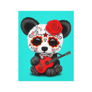 Red Sugar Skull Panda Playing Guitar Canvas Print