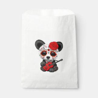 Red Sugar Skull Panda Playing Guitar Favour Bag