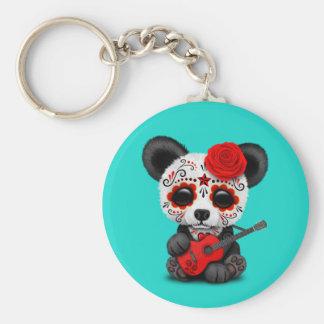 Red Sugar Skull Panda Playing Guitar Key Ring