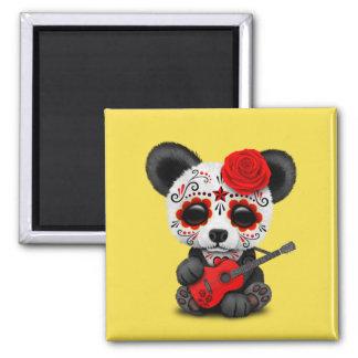 Red Sugar Skull Panda Playing Guitar Magnet