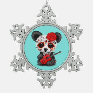 Red Sugar Skull Panda Playing Guitar Snowflake Pewter Christmas Ornament