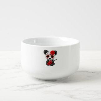 Red Sugar Skull Panda Playing Guitar Soup Mug