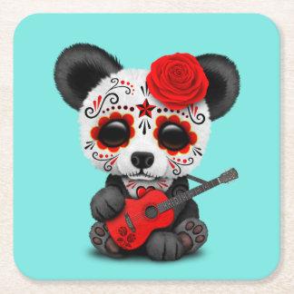 Red Sugar Skull Panda Playing Guitar Square Paper Coaster