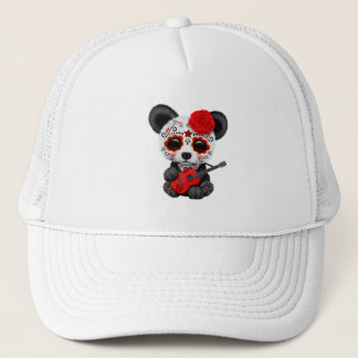 Red Sugar Skull Panda Playing Guitar Trucker Hat