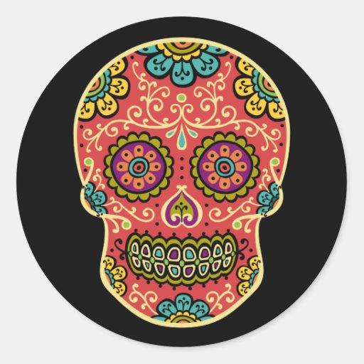 Red Sugar Skull Sticker