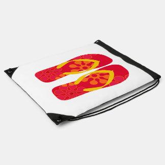 Red Summer Beach Flip Flops Bag Drawstring Backpack