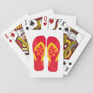 Red Summer Beach Party Flip Flops  Playing Cards
