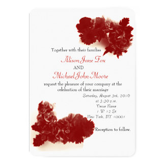 Red Summer Floral Wedding Invitation