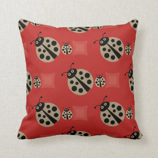 Red Summer Polka Dot Lady Bugs Pillow