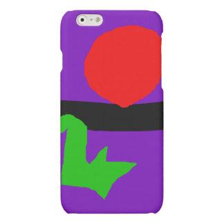 Red Sun Black Horizon Purple Sky Green Lizard