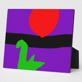 Red Sun Black Horizon Purple Sky Green Lizard Photo Plaque