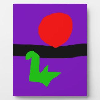 Red Sun Black Horizon Purple Sky Green Lizard Plaques