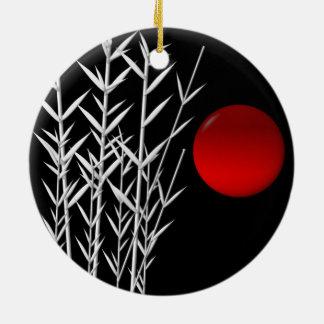 Red sun black white zen round ceramic decoration