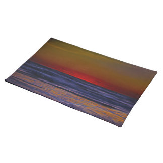 Red Sun Rising Over Troubled Seas Placemat