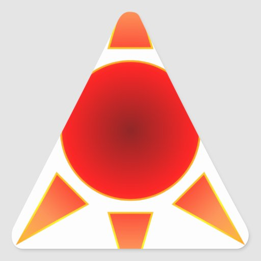 Red Sun Triangle Stickers