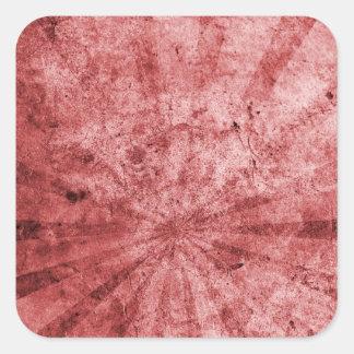 Red Sunburst Grunge Square Stickers