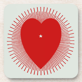 Red sunburst heart: altered 1914 graphic art coasters