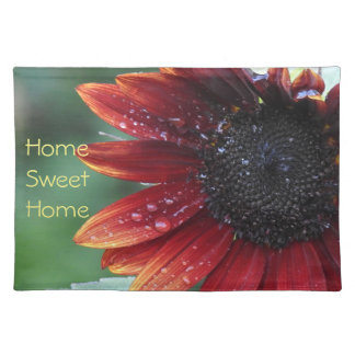 Red Sunflower Petals And Rain Drops Placemat