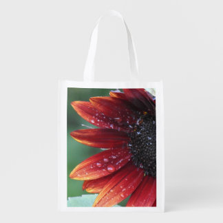 Red Sunflower Petals And Rain Drops Reusable Grocery Bag