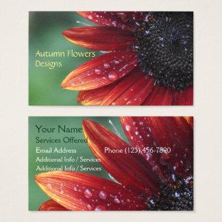 Red Sunflower Petals Floral Landscape Design Business Card