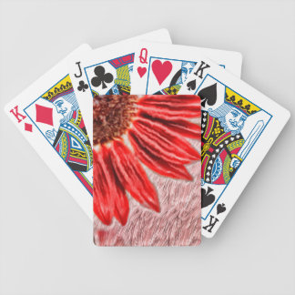 Red Sunflower Sketch Bicycle Playing Cards