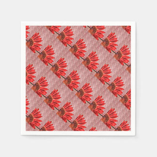 Red Sunflower Sketch Disposable Napkin