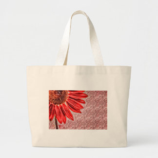 Red Sunflower Sketch Large Tote Bag