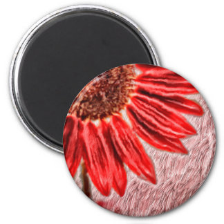 Red Sunflower Sketch Magnet