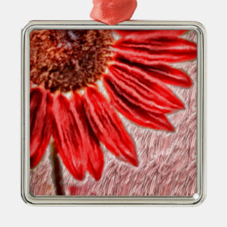 Red Sunflower Sketch Metal Ornament