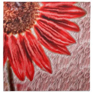 Red Sunflower Sketch Napkin