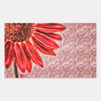 Red Sunflower Sketch Rectangular Sticker