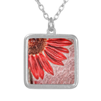 Red Sunflower Sketch Silver Plated Necklace
