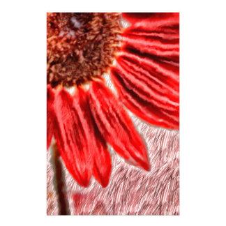Red Sunflower Sketch Stationery