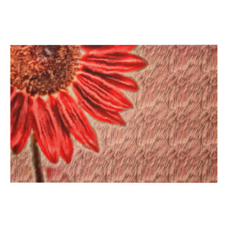 Red Sunflower Sketch Wood Print