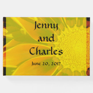 Red Sunflower Wedding Guest Book