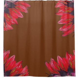 Red Sunflowers on Terracotta Brown Shower Curtain