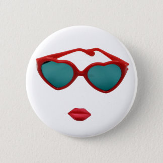 Red Sunglasses and Candy Lips 6 Cm Round Badge