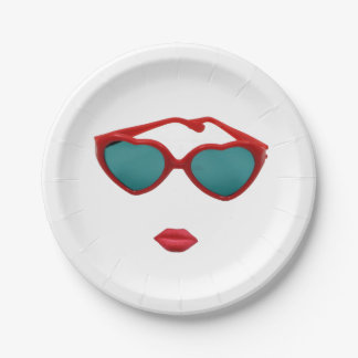 Red Sunglasses and Candy Lips 7 Inch Paper Plate